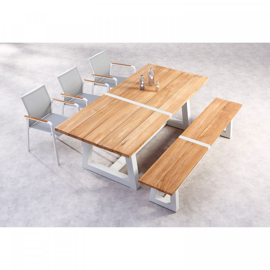 De Campione Jardin Table AluminiumTeck MassifBlanc 8OnP0wk