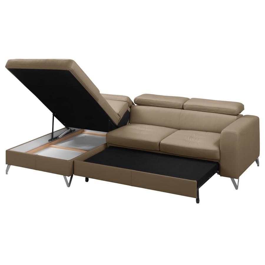Longchair Davorstehend Gelegentliche Bettkasten Nutzung Ecksofa EchtlederTaupe Schlaffunktion Für Links Lucena lKJc1TF