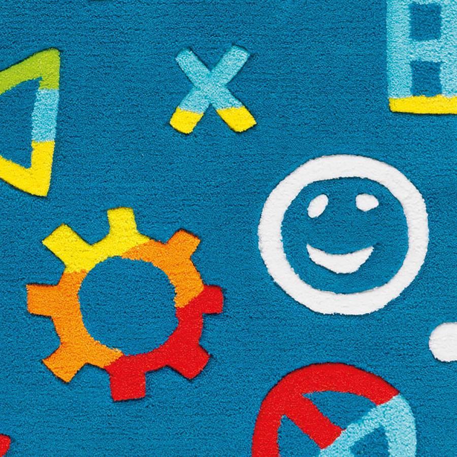 KunstfaserBlauMulti Glowy Glowy Kinderteppich Kinderteppich Icons XTkiZOPu