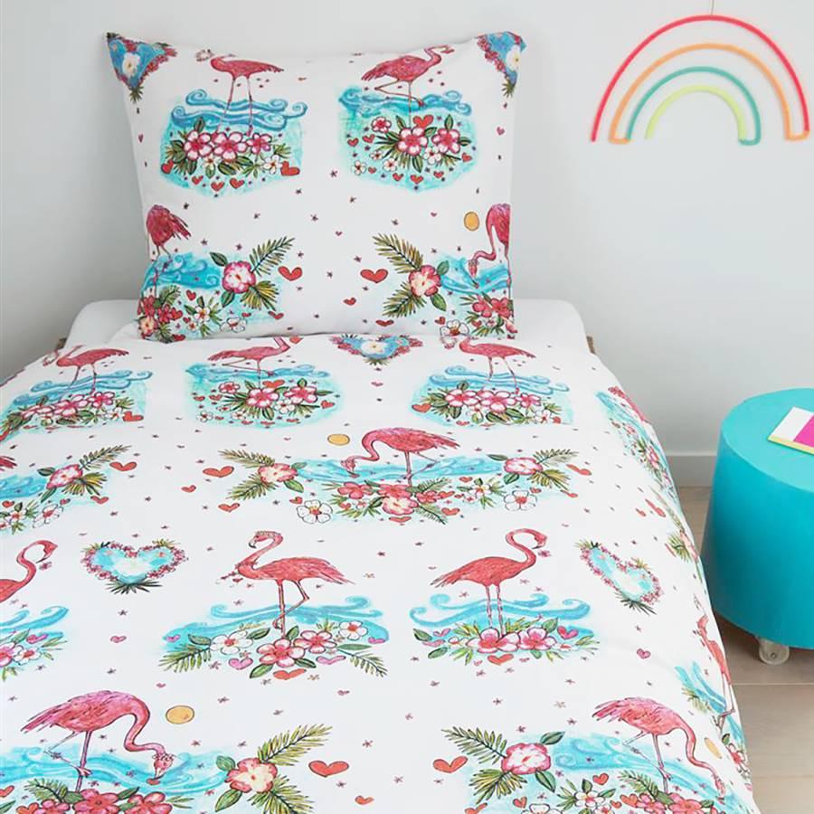 135 200 X Kinderbettwäsche Flower Flamingo CmKissen BaumwollstoffWeißMehrfarbig 80 IED9eH2WY