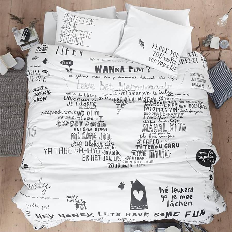 Bettwäsche Happy BaumwollstoffWeißSchwarz 80 Bed 135 200 CmKissen X LqpjUMSzVG