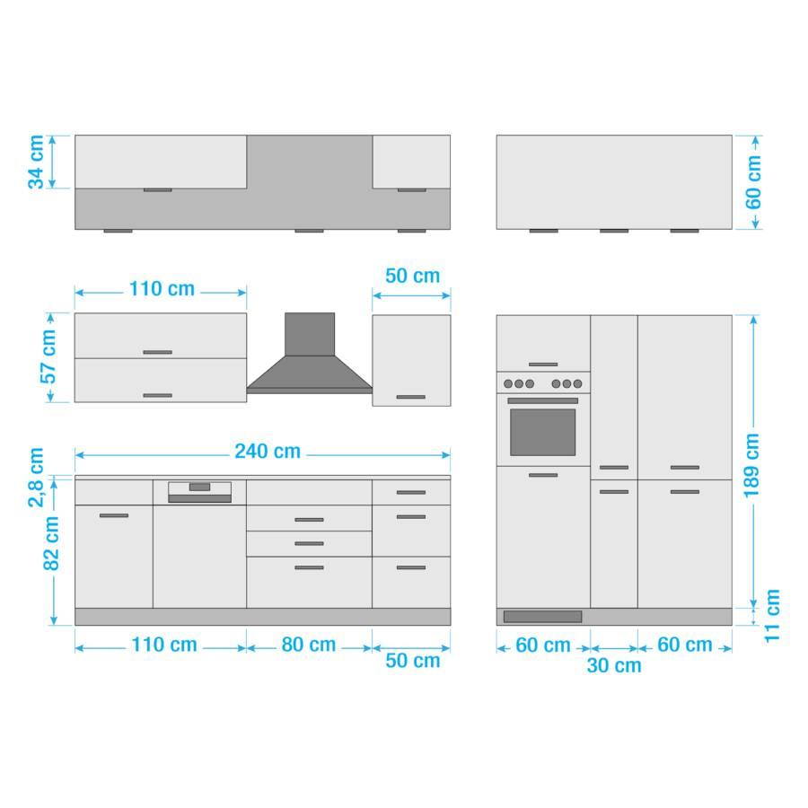 Mailand Küchenzeile Glaskeramik Elektrogeräten GraphitMit Xv hCtdsQr