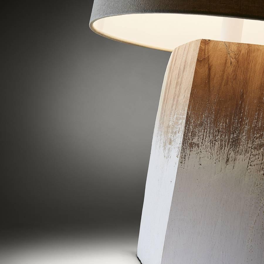 Weiß Tischleuchte flammig Massivholz WalnußTextile1 Moala ywP80nOvmN