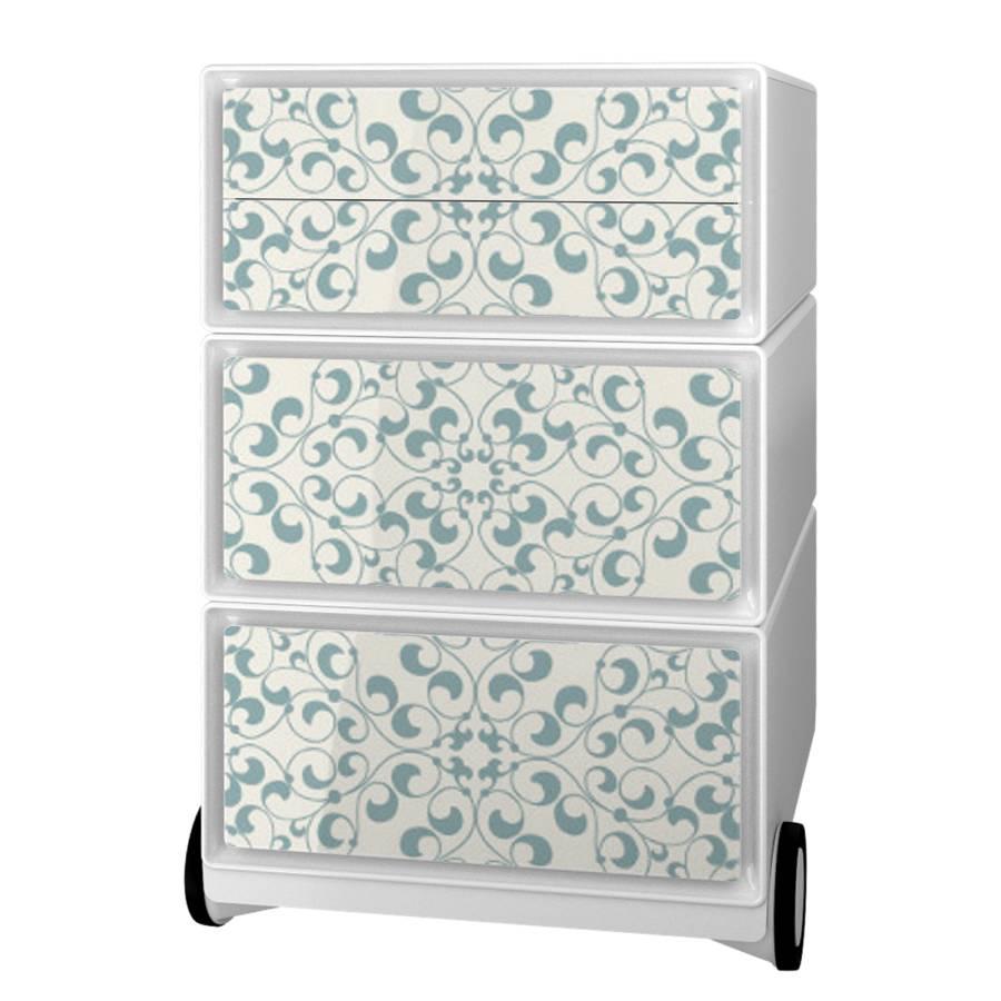Floral Easybox I KunststoffWeiß Rollcontainer 2HEID9