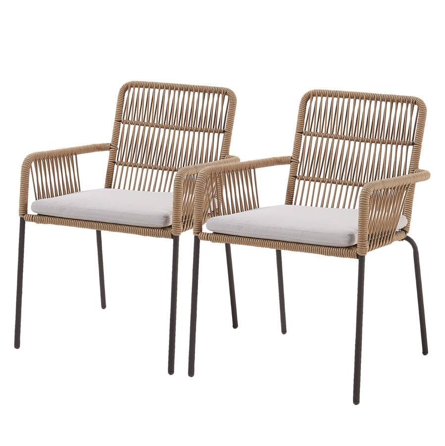 2Matière À Accoudoirs Chaise PlastiqueAcierBeige Farellolot De vmN0n8w