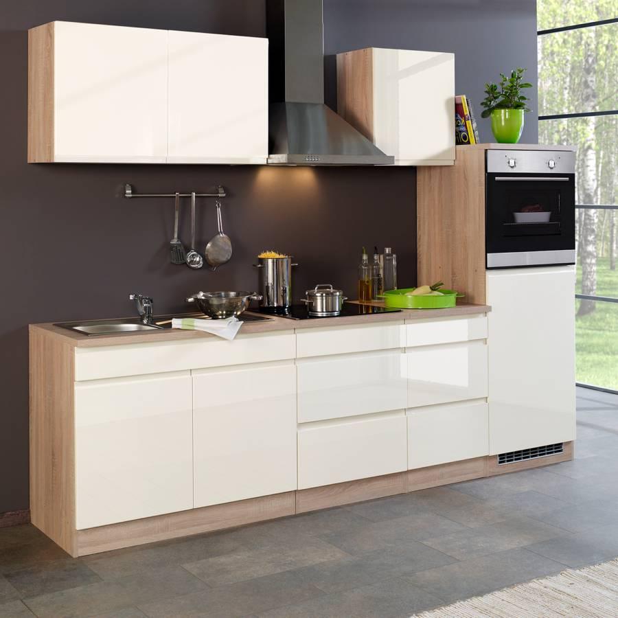 DekorMit Elektrogeräten Cardiff CremeEiche I Sonoma Hochglanz Küchenzeile vN8w0nm