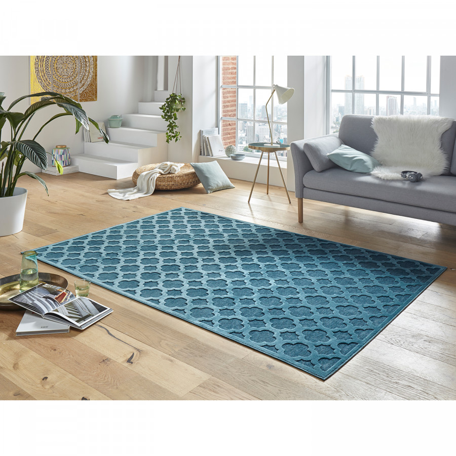 Bryon SynthétiquesBleu Pétrole Tapis Cm Fibres X 170 120 n0XwPk8ON