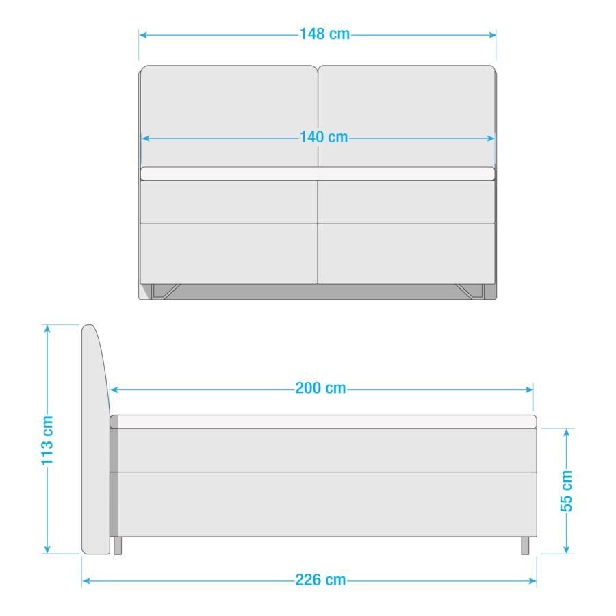 H2 Boxspringbett 140 X Passion 200cm WebstoffGrau 9IEDHY2W
