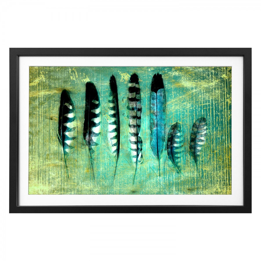 LindeMehrfarbig Feathers Blue Bild Massivholz GLqVSMzUp
