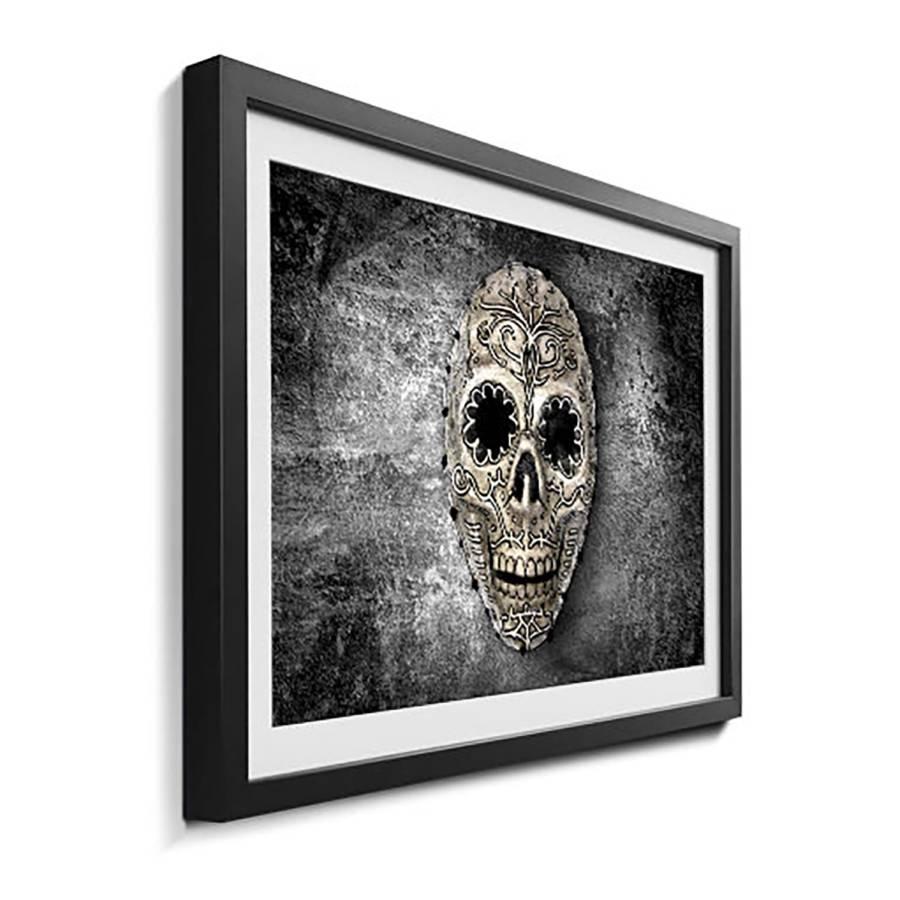 Dark Skull On Massivholz Bild LindeSchwarzWeiß SVGpzqUM