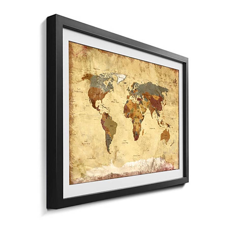 LindeMehrfarbig Massivholz 4 Bild Worldmap Old 5Rjq34AL