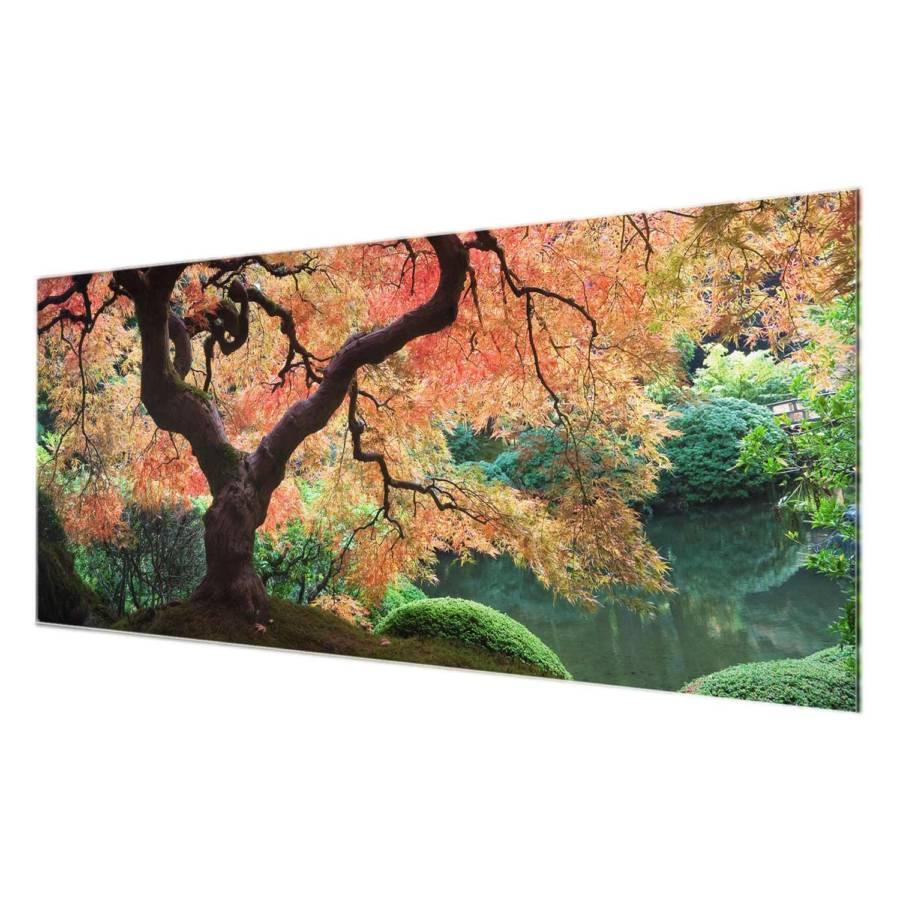 Cm Véritable RésistantMulticolore Japonais Jardin Tableau 125 X Déco Ii Verre 50 rdsthQC