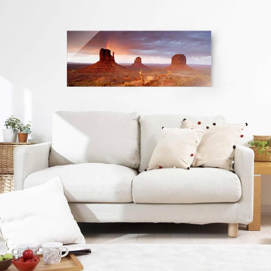 EchtglasMehrfarbig X Bei Starkes 125 Cm Sonnenuntergang Bild Monument Valley 50 Yb67fgy