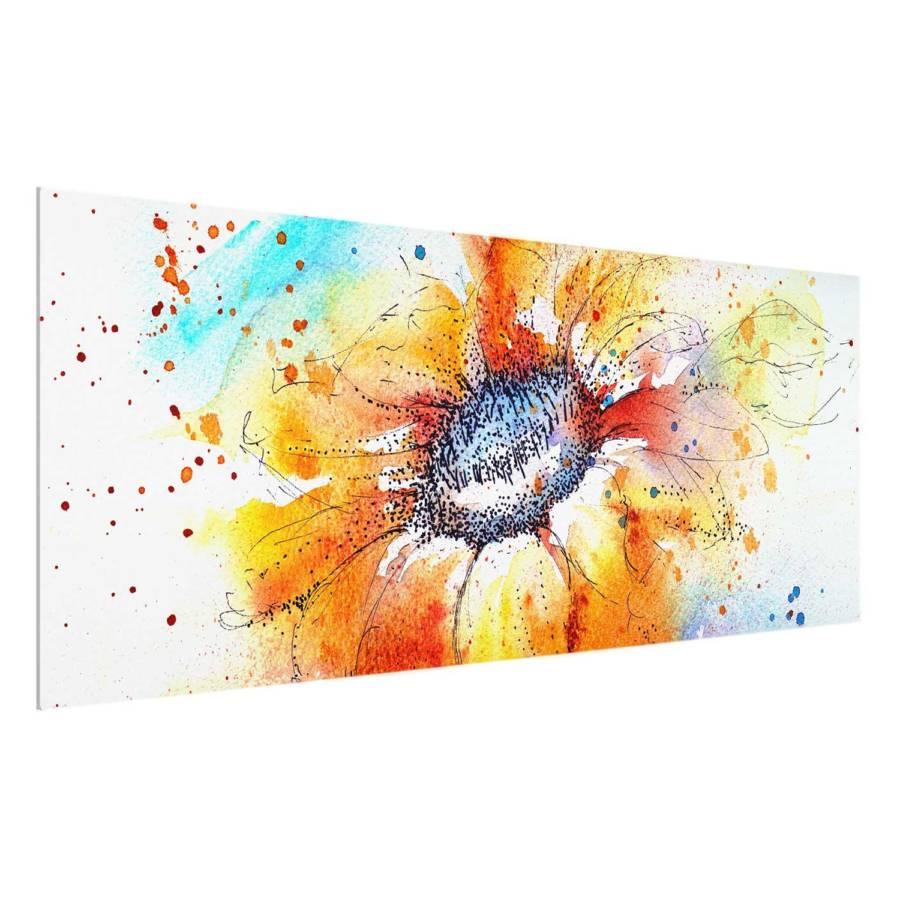 Painted Sunflower 100 X Starkes 40 I Bild EchtglasMehrfarbig Cm E2WDH9I