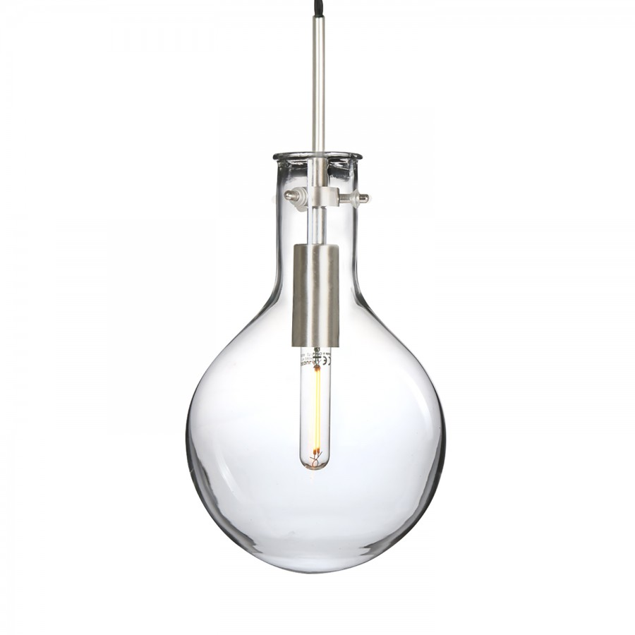 Verre I Suspension Led TransparentAcier1 Elegance Ampoule kXiPZu