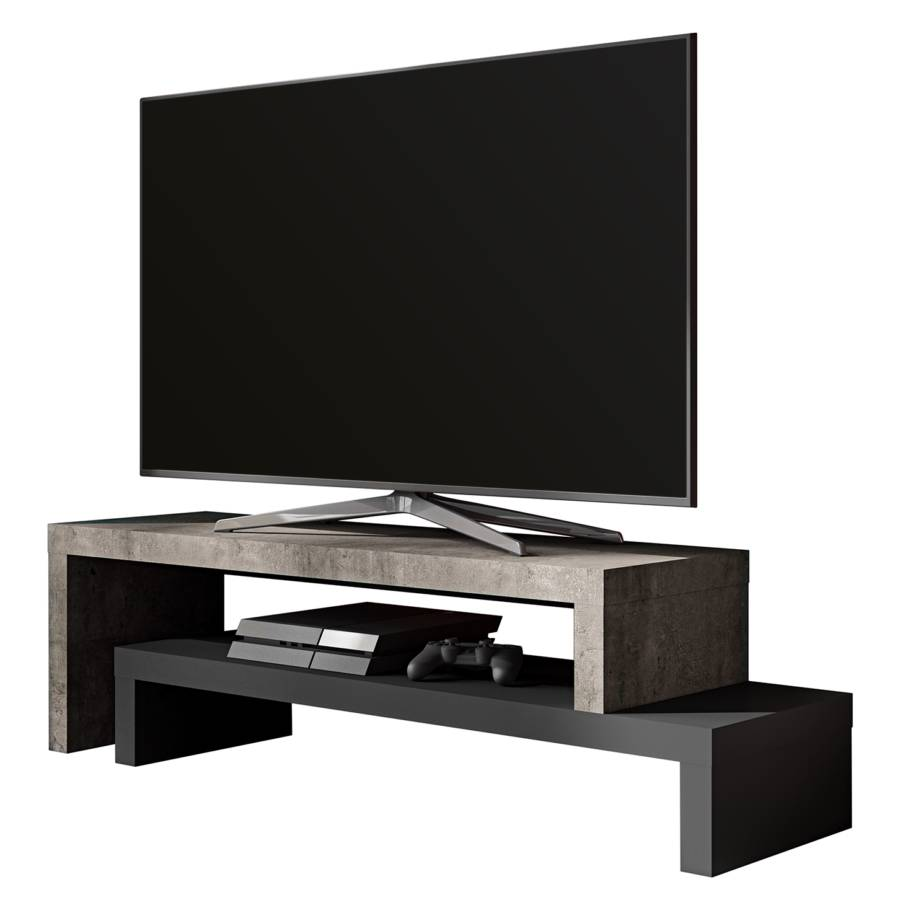 Flatscreen Tv Meubel.Tv Meubel Detroit Ii Betonnen Look Zwart Home24 Nl