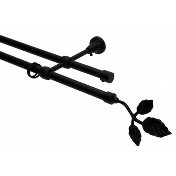 Schwarz2 16mm Gardinenstange läufigEndstück Schwarz2 16mm Blatt240cm Gardinenstange OXkuPZi