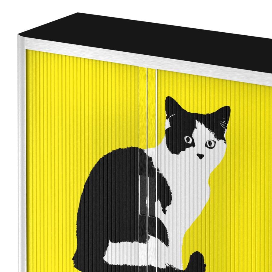 WeißGelb Cat Easyoffice Rollladenschrank Pop Art kOP0XNnw8Z