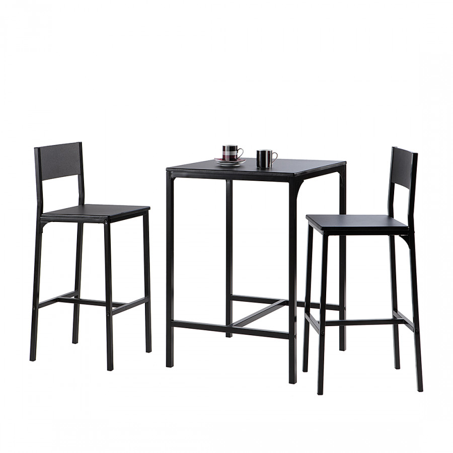 Bartisch Metall bar-set le mans inkl. bartisch und zwei barstühlen - schwarz | home24
