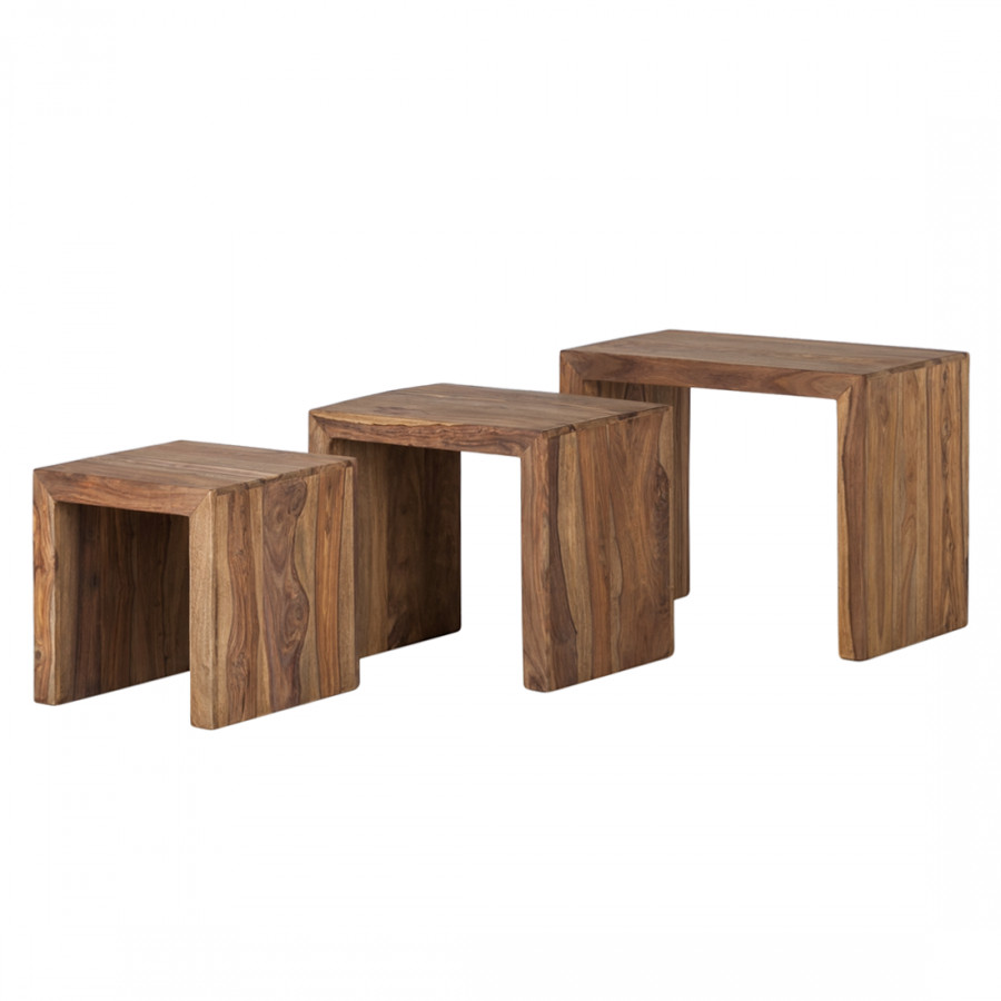 Table Gigogne Yoga Lot De 3 Sheesham Massif Home24 Fr