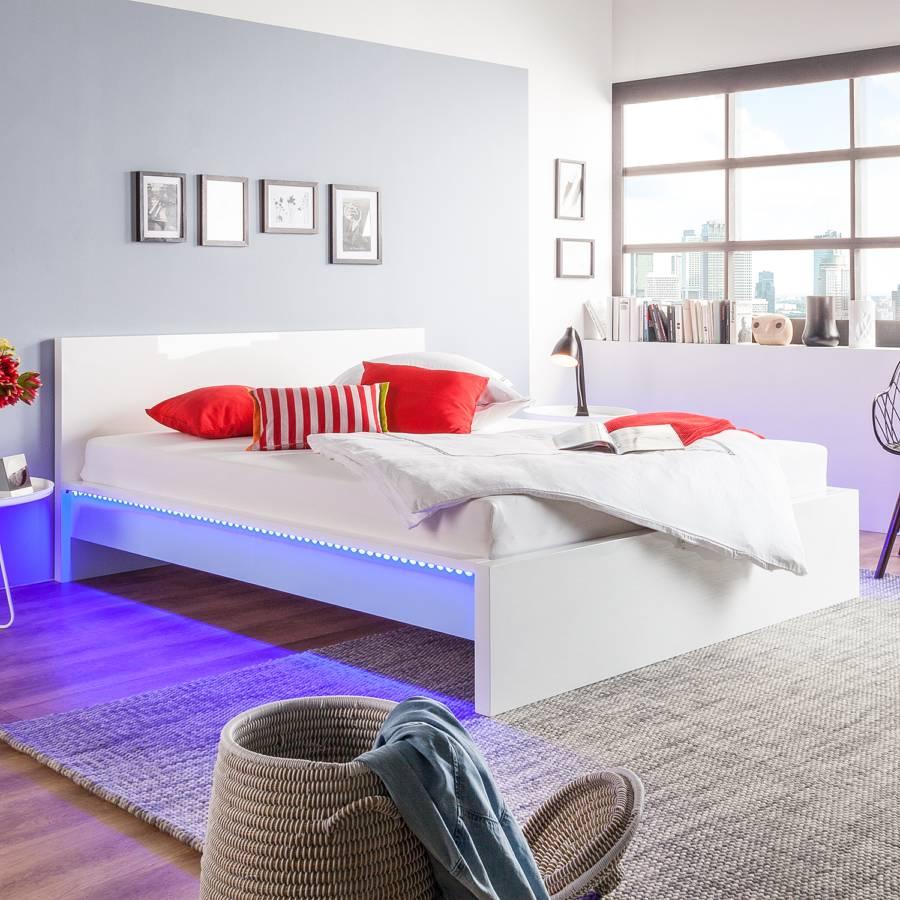 Bett Emblaze Inkl Led Beleuchtung Hochglanz Weiß Home24