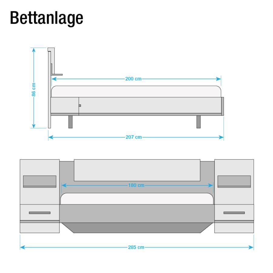 teiligEiche Sanremo X 200cm Bettanlage Bustas3 Hell DekorAlpinweiß180 dBoCWrxe