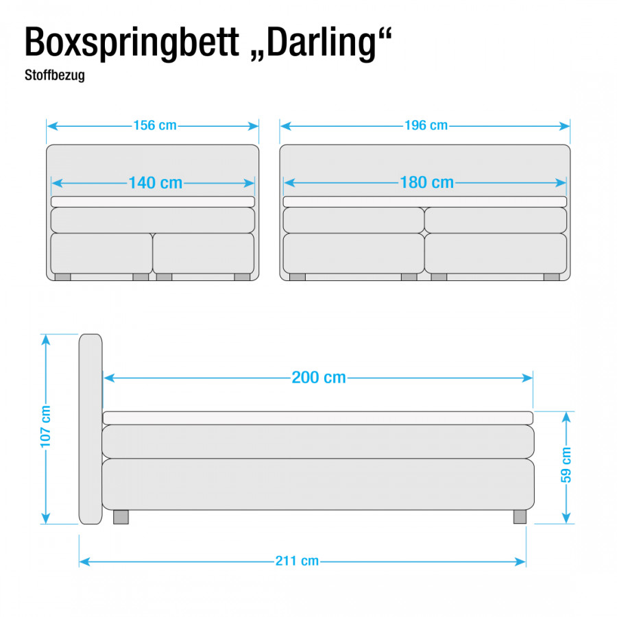 Boxspringbett 140 Boxspringbett X 200cm Darling Darling PkXw8nO0