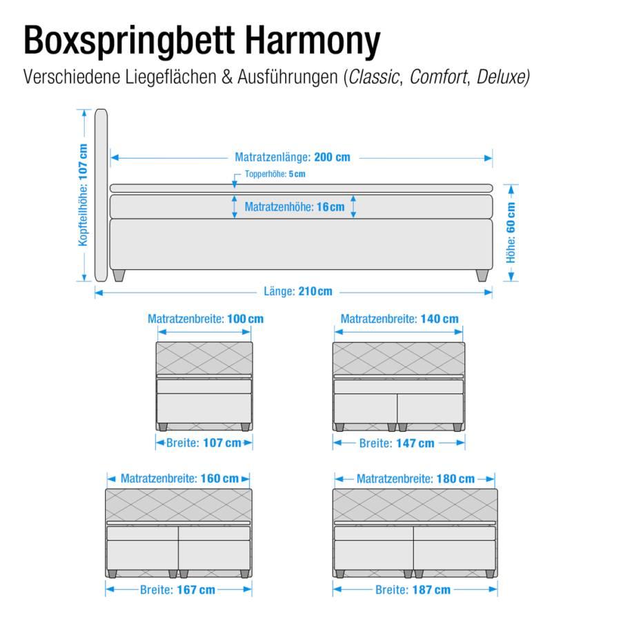 Boxspring Bonnell 200cmD2 Mousse Froide Souple À Matelas Surmatelas Ressorts Mauve 100 En Lit Harmony X dhrtsQ