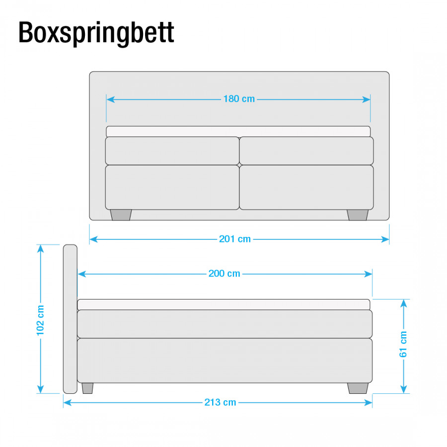 H3 Boxspringbett 200cm Box X Soft Hellgrau180 Ok8wn0P