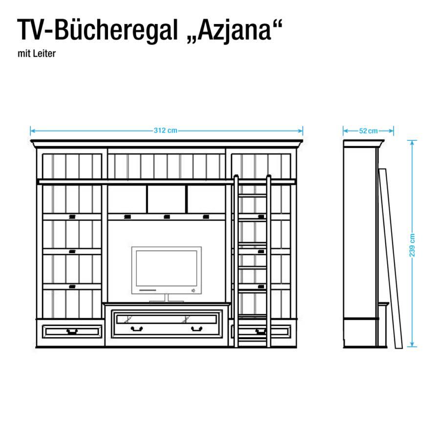 Tv Azjana I Weiß Ohne Lackiert wand LeiterPinie sdxoChQBtr