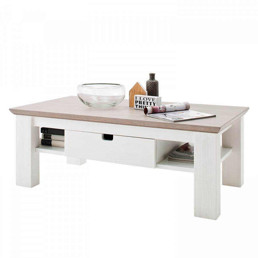 En MassifBlancTaupe Basse Pin Table Maquili Partiellement 8nP0wOkNX