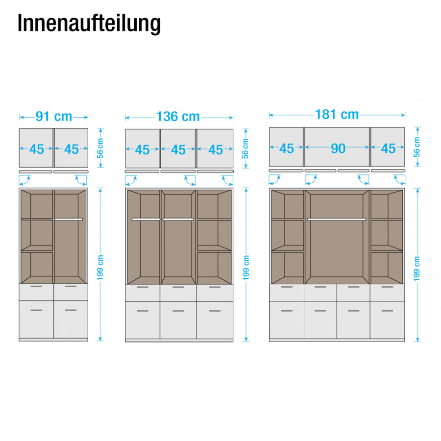 Bremen türig 3 Drehtürenkombischrank AlpinweißSchrankbreite136 Cm xQordCeWEB