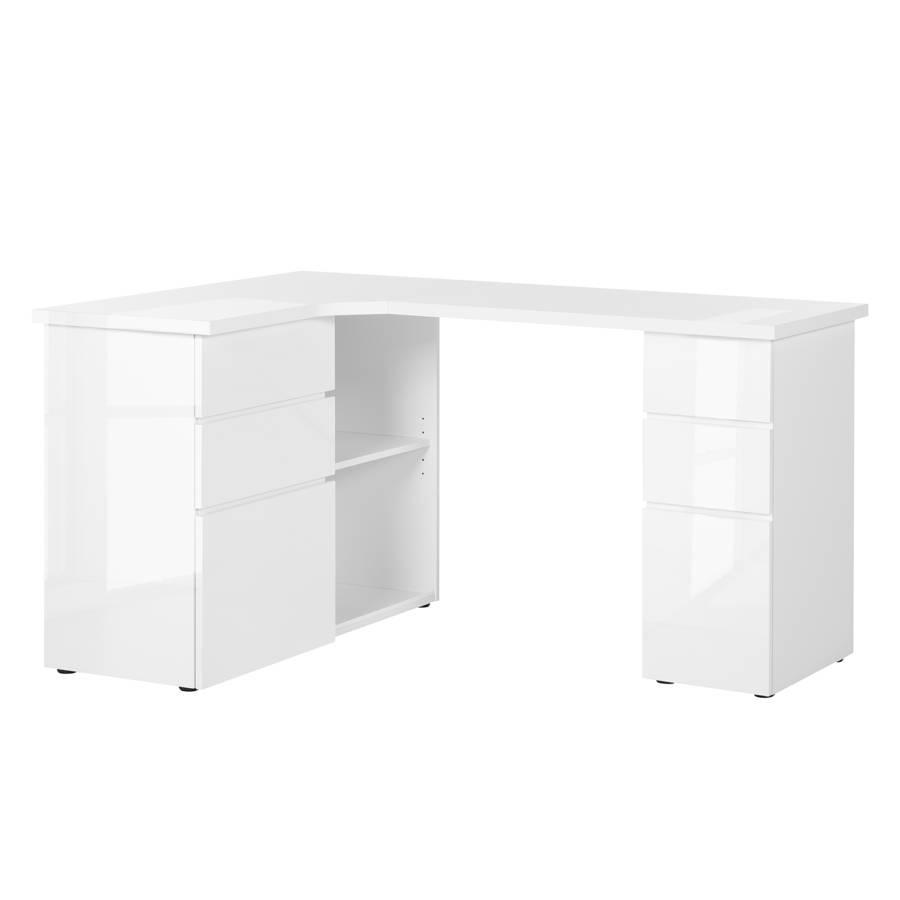 Eck Schreibtisch Samiera Weißhochglanz Weiß Home24