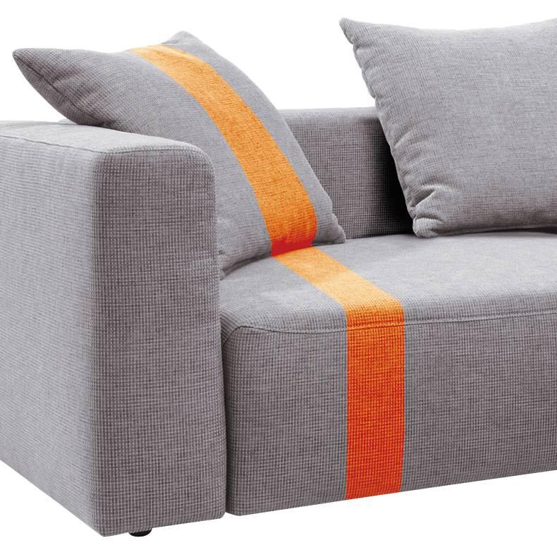 Stripe Davorstehend Webstoff Heaven Ohne Ecksofa orange RechtsHellgrau Longchair Kissen 3Lc5RAjq4