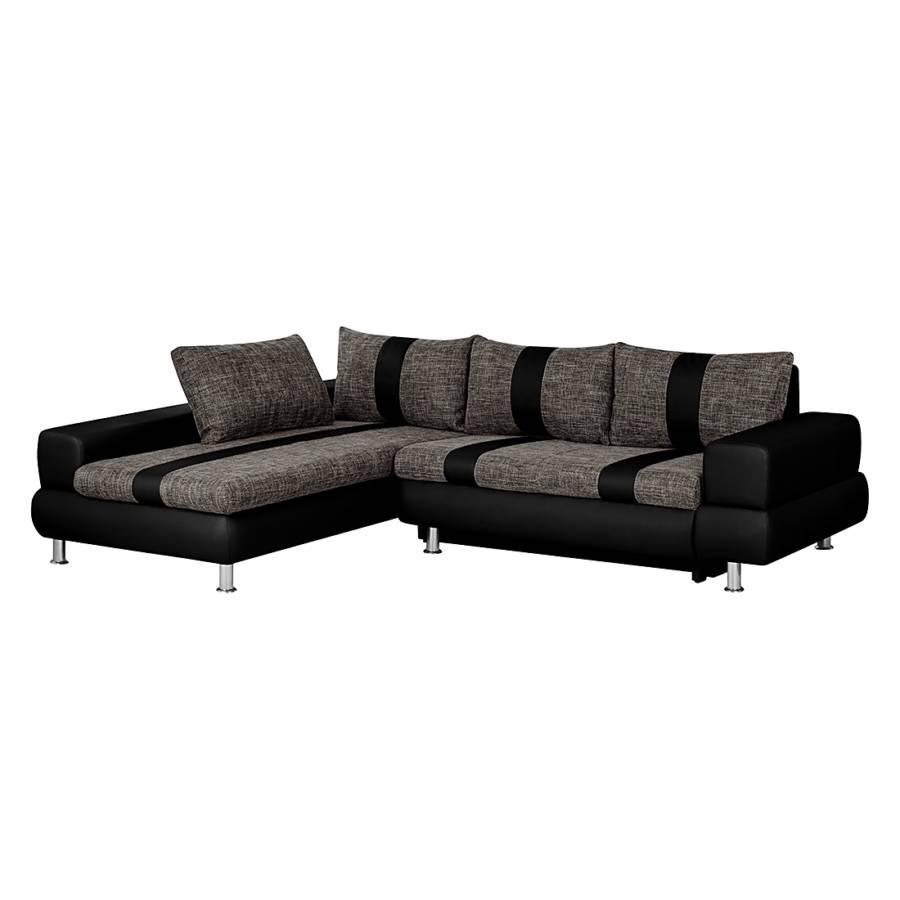 Großartig Sofa Mit Ottomane Und Schlaffunktion Foto Von Ecksofa Maynard (mit Schlaffunktion) - Kunstleder Schwarz/strukturstoff