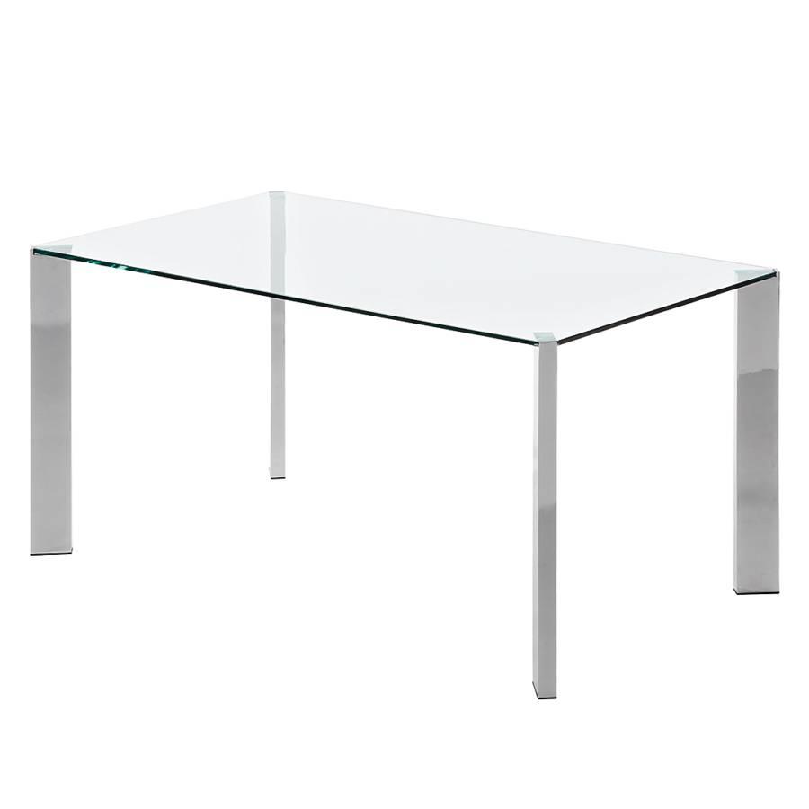 Esstisch X GlasEdelstahlKlarglas Chrom 160 90 Cm Reuben HIYW92DE