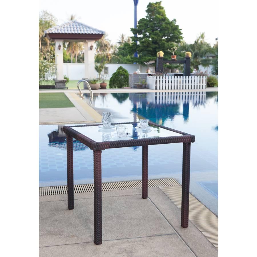 Lounge Jardin VerrePolyrotinMarron Paradise Table De OmnvN80w