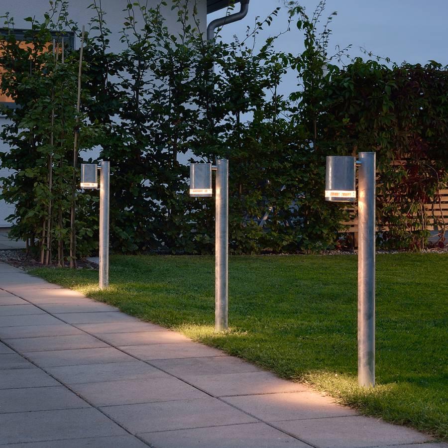 Luminaire 1 Ampoule Modena AcierVerre D'allée Halogène P8kwOn0