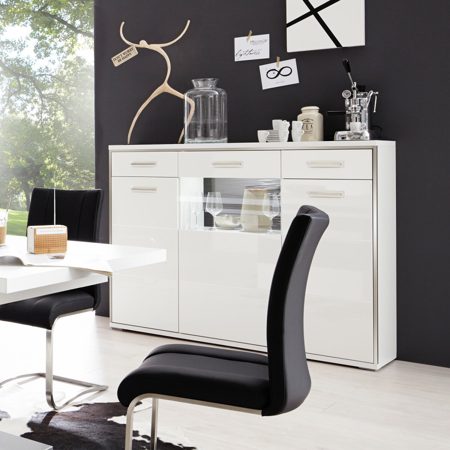 I BrillantGris Arco Haut Buffet Blanc iZXPuk