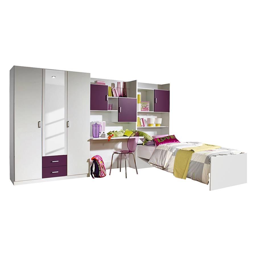 Jugendzimmer Flow (3-teilig) - Kleiderschrank, Bett & Regalwand | home24