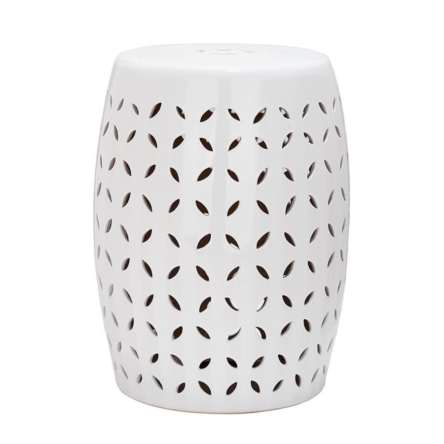 Keramikhocker Blütenblatt Keramikhocker Glasiert Blütenblatt Weiß E2DYeWH9I