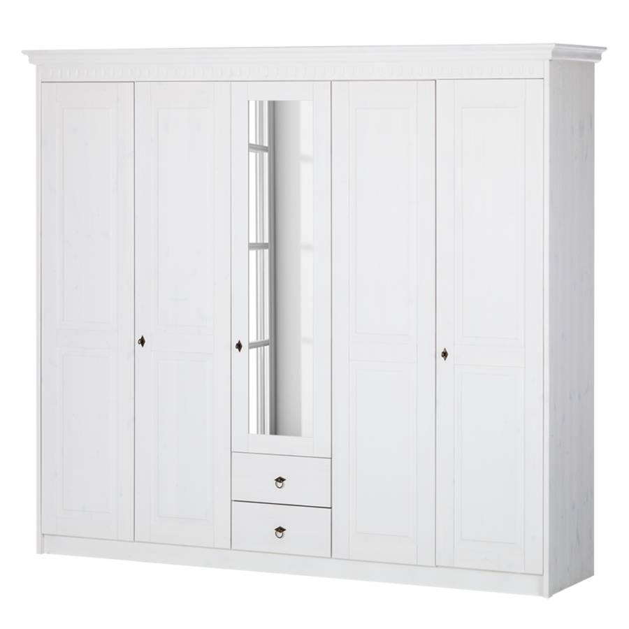Kleiderschrank Bodo (5 Türig)   Pinie Massiv Weiß Lasiert