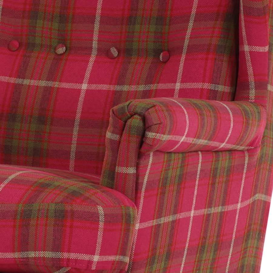 Chaville Ohrensessel grün Webstoff Kariert Pink rdxBWCeo