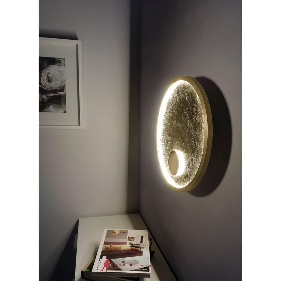 SynthétiqueAcier2 Luna Applique Grand Murale Ampoules Matériau Led E2YD9WIH
