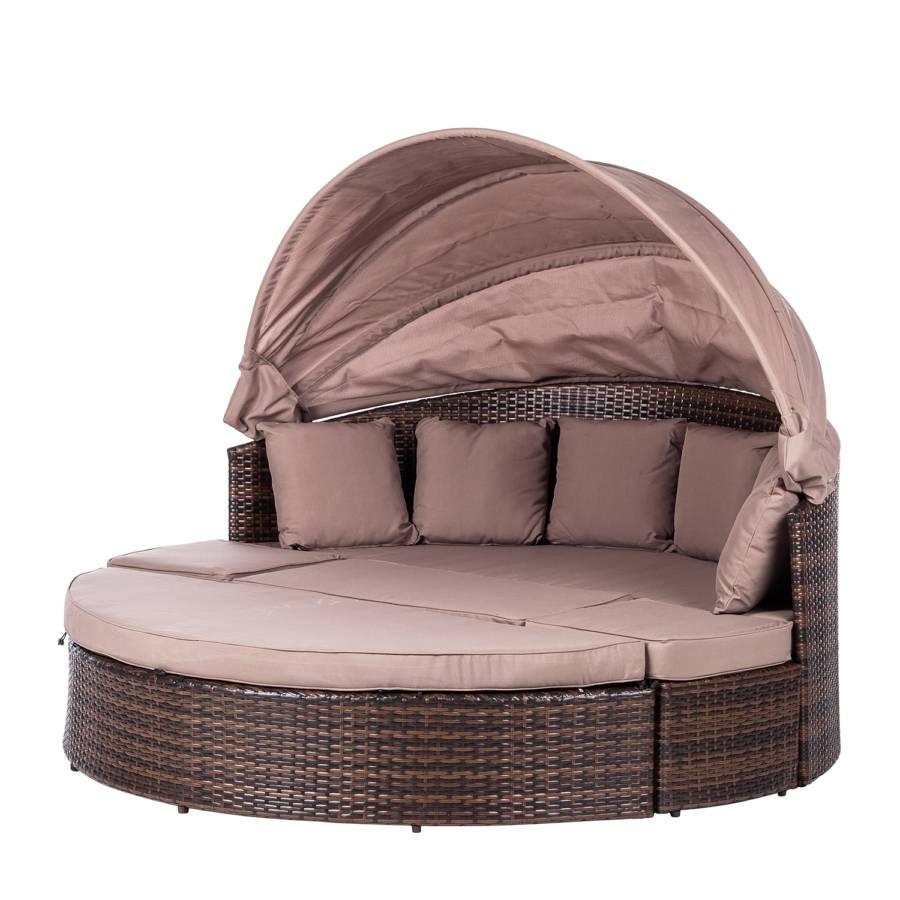 Salon de jardin modulable Riva - Polyrotin / Textile marron Taupe ...