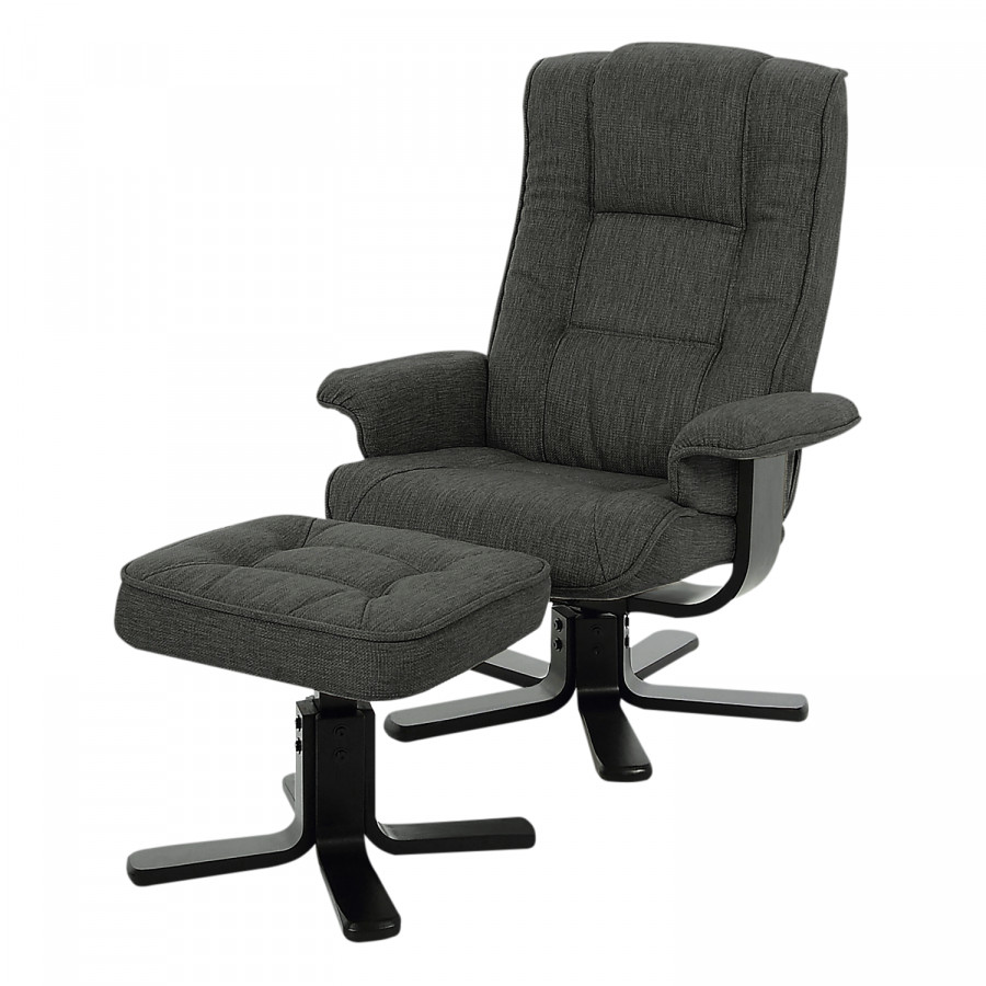 Fauteuil De Relaxation Wenzo   Avec Repose Pieds   Tissu   Anthracite