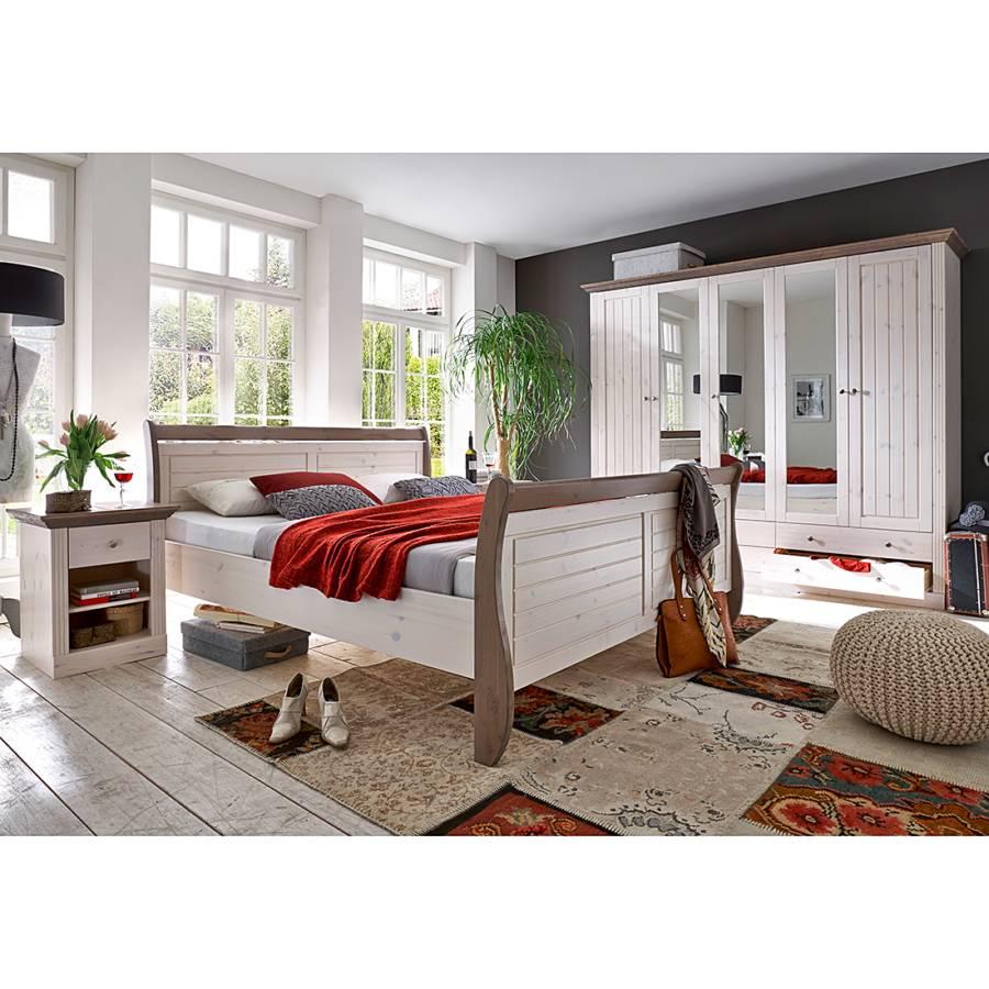 Schlafzimmerset Lyngby (4 Teilig)   Kiefer Weiß Lasiert U0026 Lackiert /  Steingrau