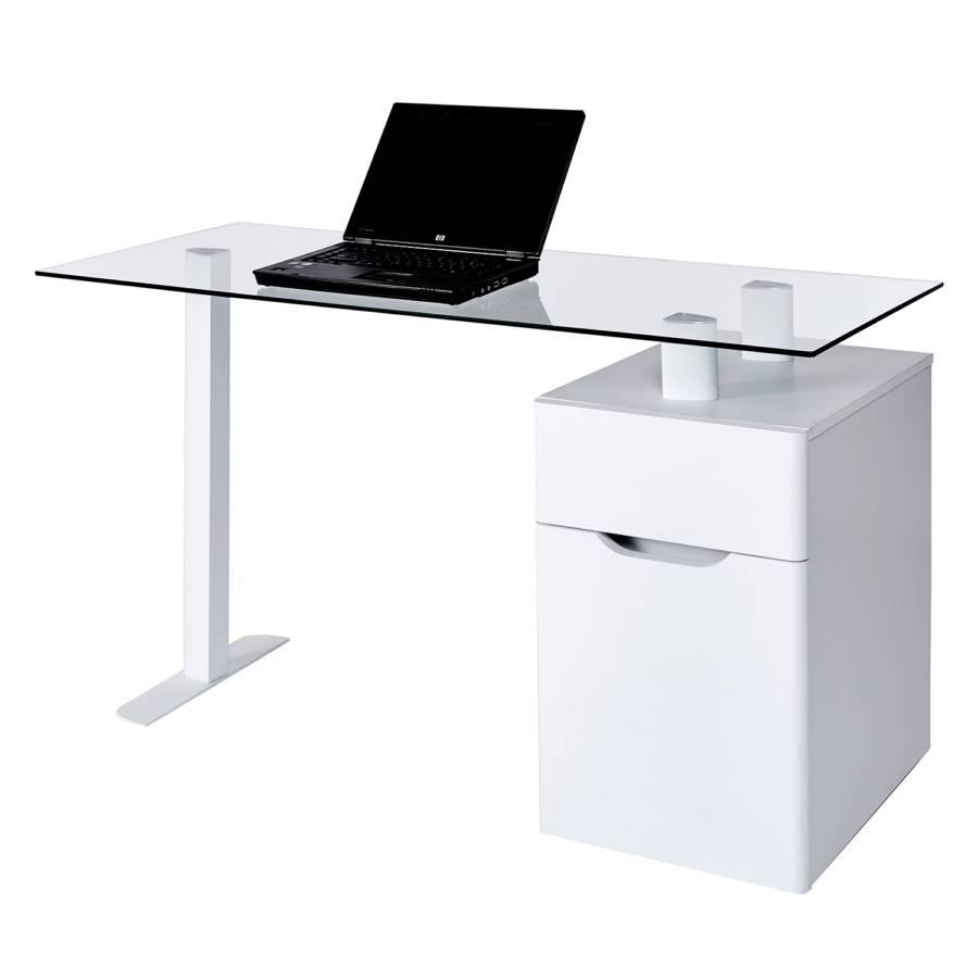 13 Weiß Schreibtisch GlasStahlMatt Cu libre f7y6gb