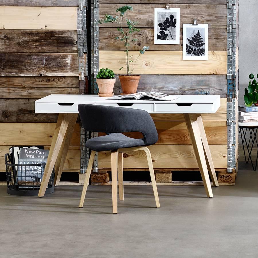 Schreibtisch Lanna Esche Teilmassiv Home24