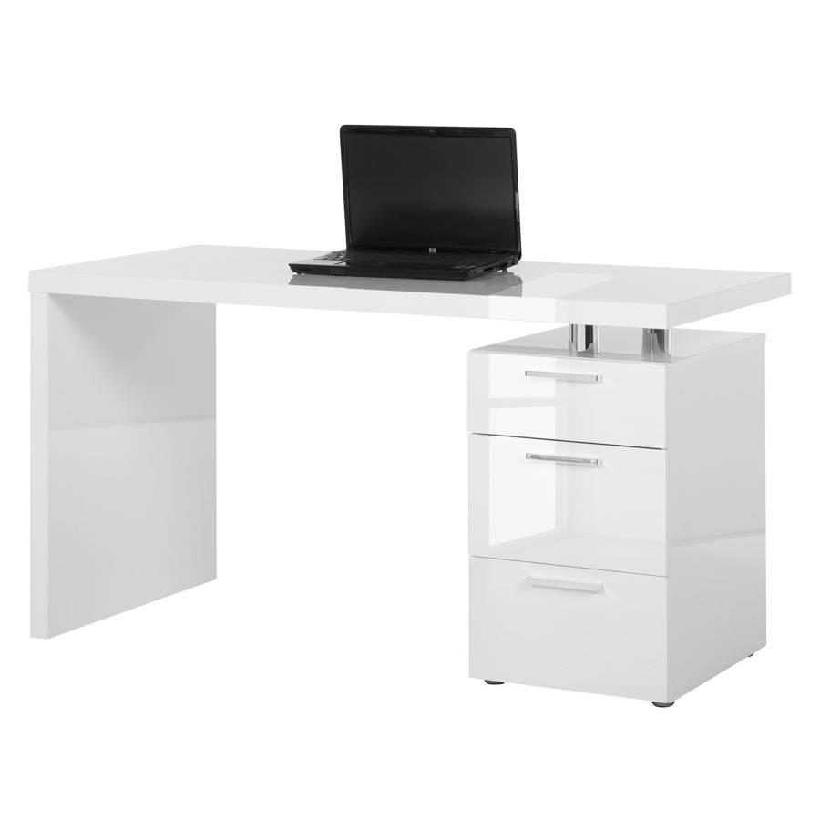 Schreibtisch Teshie   Hochglanz Weiß